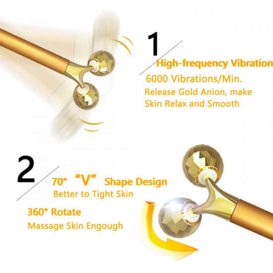 Yeamon 2-IN-1 Beauty Bar 24k Golden Pulse Facial Face Massager,Electric 3D Roller and T Shape Arm Eye Nose Head Massager