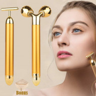Yeamon 2-IN-1 Beauty Bar 24k Golden Pulse Facial Face Massager,Electric 3D Roller and T Shape Arm Eye Nose Head Massager