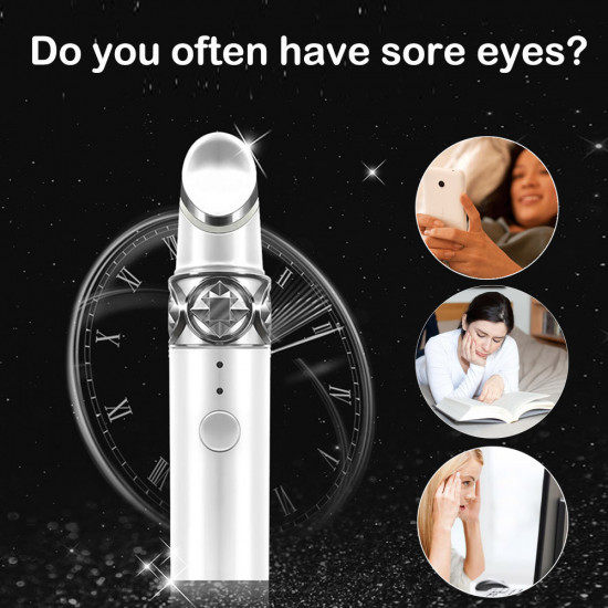Anti-Aging/Wrinkle Eye Massager, 108℉ Ionic Eyes Facial Massager with Heated Sonic Vibration, Dark Circle Remover, Eliminate Eye Bags & Puffy Eye, Two Modes USB Rechargeable