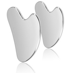 Gua Sha Facial Tool, Pure Stainless Steel Guasha Board for Facial Body Skin SPA, Gua Sha Scraping Massage Tools for Face, Back, Arms, Neck, Shoulder, Set of 2 (Steel-A-2 pcs)
