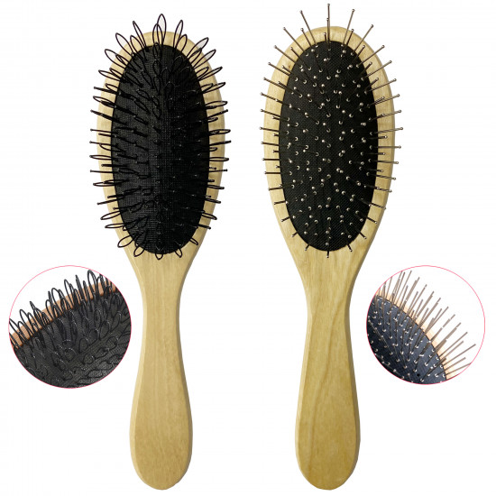 Wig Brush for Synthetic Wigs, Detangling Wigs Professional Wood Handle Wig Hair Comb Wig Hair Brush Set, 2 Set