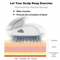 Scalp Massager Comb,Electric Hair Shampoo Brush, Silicone Wet Hair Care Dandruff Brush Cleaner, 3 Vibration Mode Hair Scalp Scrubber