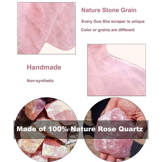 2 Pcs Gua Sha Facial Tools, Natural Rose Quartz GuaSha Scraping Massage Tool, Crystal Jade Stone for Facial Body Skin for SPA, Face Massage Tools for Neck, Eyes, Cheeks, Arms, Legs (Gua Sha Set)