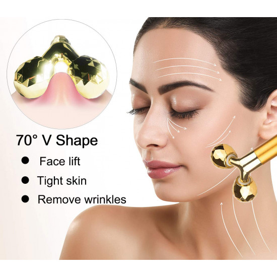 Face Massager Roller 24k Golden Electric 3D Roller and T Shape Arm Eye Nose Head Massager for Face Lift Anti Aging