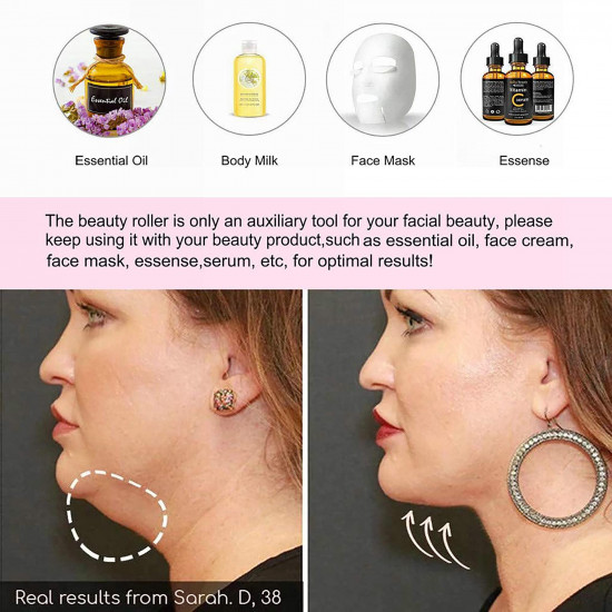 3 In 1 Face Massage Roller, Electric Facial Roller, Metal Face Massage Tools Set Facial Skin Care Eyes Nose Arms Legs Body Massager Roller for Women
