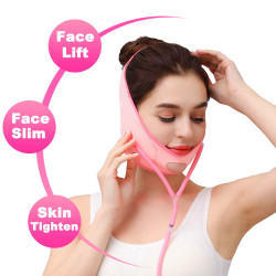 Reusable Face Slimming Strap Double Chin Reducer V Line Mask Chin Up Patch Chin Mask V Up Contour Tightening V-Line Lifting Patches V Shaped Belt (Pink)