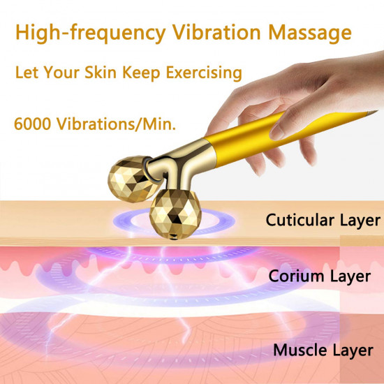 Face Massager Roller Electric Energy 3D Face Roller and Falcate Shape Facial Roller Massage Kit for Women Anti Aging Wrinkles Instant Face Lift Skin Tightening